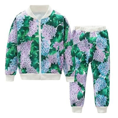 Autumn Long Sleeve Sports Clothes - Green / 3Y - Girls