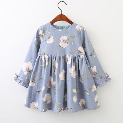 Autumn Style Petal Sleeve Flowers Print Design - Blue / 3Y - Girls