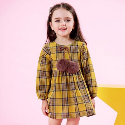 Autumn Style Petal Sleeve Flowers Print Design - Yellow 1 / 3Y - Girls