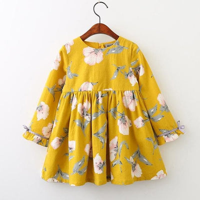 Autumn Style Petal Sleeve Flowers Print Design - Yellow / 3Y - Girls