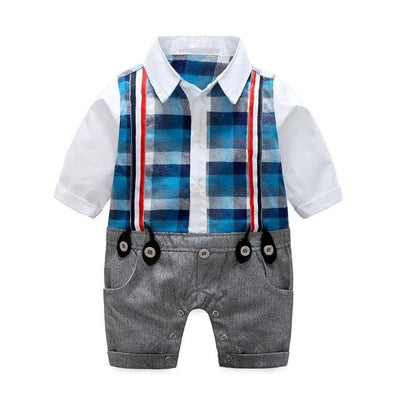 Baby Boy Gentleman Long Sleeve Plaid Rompers - Blue / 6M - Baby Boys
