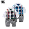 Baby Boy Gentleman Long Sleeve Plaid Rompers - Baby Boys
