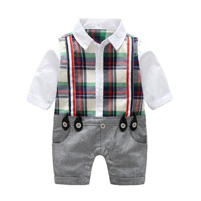 Baby Boy Gentleman Long Sleeve Plaid Rompers - Gray / 6M - Baby Boys