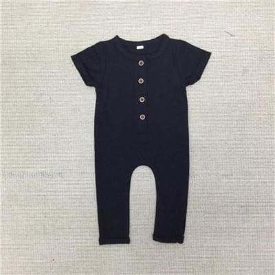 Baby Boys Summer Romper Newborn Plain Jumpsuit - Black / 12M - Baby Boys