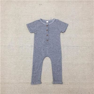 Baby Boys Summer Romper Newborn Plain Jumpsuit - Gray / 12M - Baby Boys