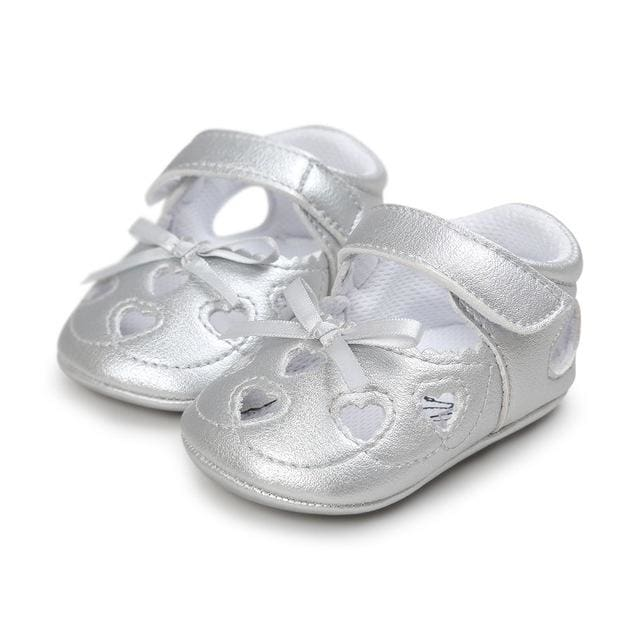Baby Girl Leather Shoes First Walkers - Silver   13-18 Months - Baby Girls 4a8c6c8dd3a4
