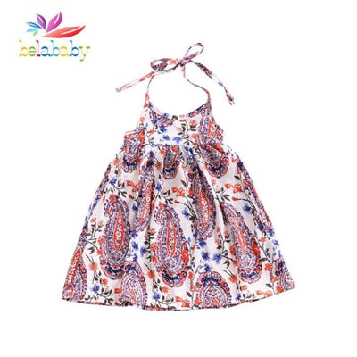 Baby Girl O-Neck Sleeveless Beach Dress - Girls