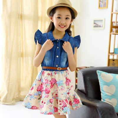 Baby Girl Outfit Floral Print Skirt +Denim Vest - Girls