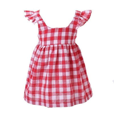 Baby Girl Plaid Bowknot Dress - Red / 3Y - Girls