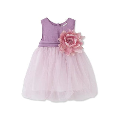Baby Girls Butterfly Appliques Dress - Lavender / 1Y - Baby Girls
