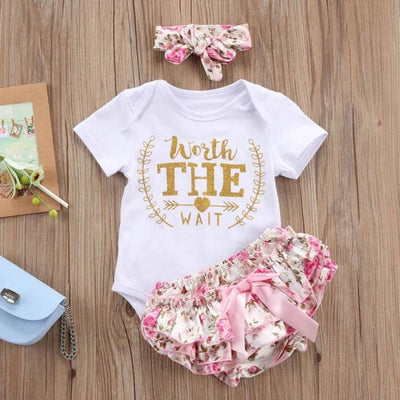 Baby Girls Letter Floral Romper+Lace Tutu Shorts 3Pcs - 1Y 6M - Baby Girls
