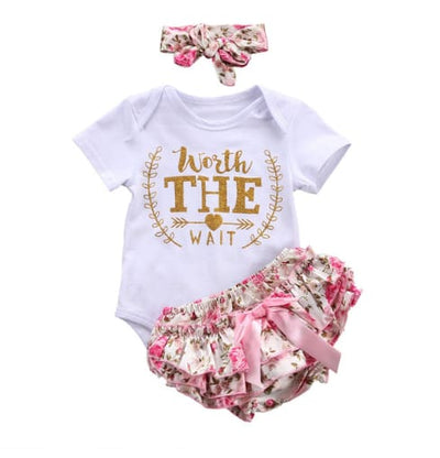 Baby Girls Letter Floral Romper+Lace Tutu Shorts 3Pcs - Baby Girls