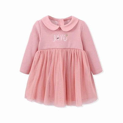 Baby Girls Long Sleeve Princess Baby Dress - Pink / 9M - Baby Girls