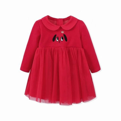 Baby Girls Long Sleeve Princess Baby Dress - Red / 9M - Baby Girls