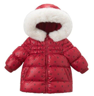Baby Girls Red Dot Hooded Padded Jacket - Red / 2Y - Girls