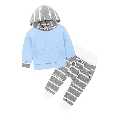 Baby Hood Tops + Long Pants Leggings Outfit - As Photos / 1Y 6M - Baby Boys