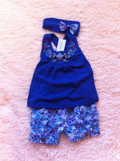 Baby Kerchief Sleeveless Dress - Blue / 6M - Baby Girls