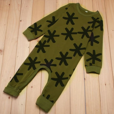 Baby Long-Sleeved Cotton Romper Army Green - Baby Girls