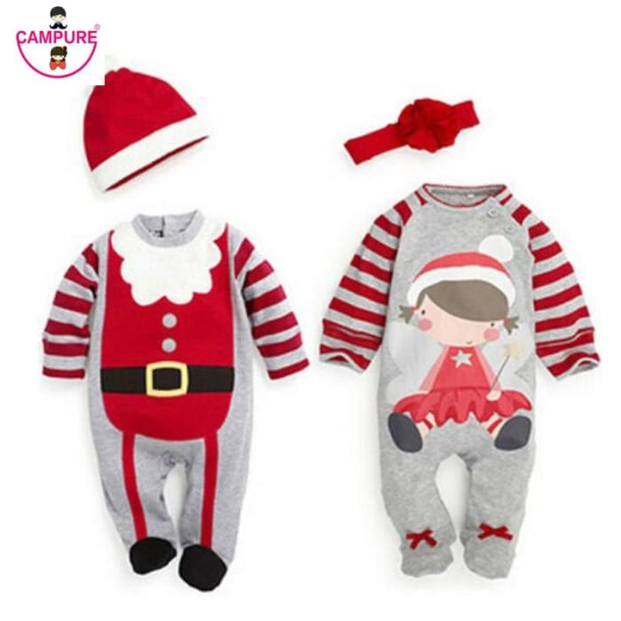 d3aee1ec7 Baby Rompers Christmas Clothing Set Top+Hat