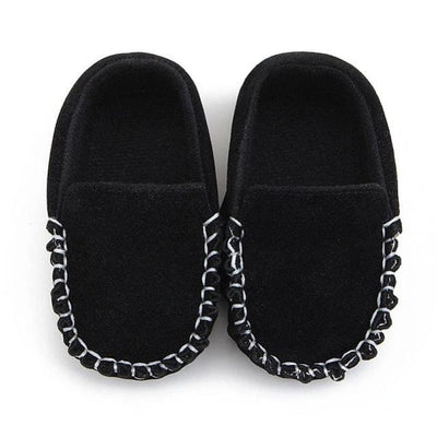 Baby Shoes Suede Leather - Black / 13-18 Months - Baby Boys