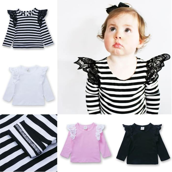 Baby Spring/autumn T-Shirt - Stripe / 3Y - Baby Girls