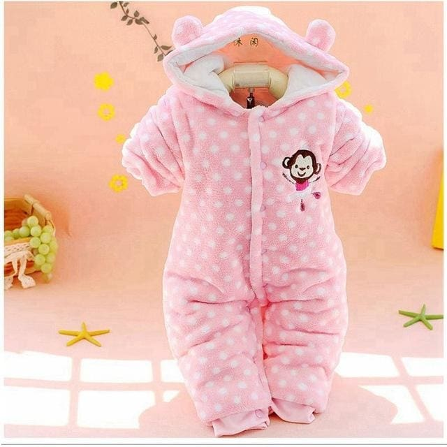 bed54b2352fe Baby Winter Thick Animal Hooded Rompers - Red   3M - Baby Girls