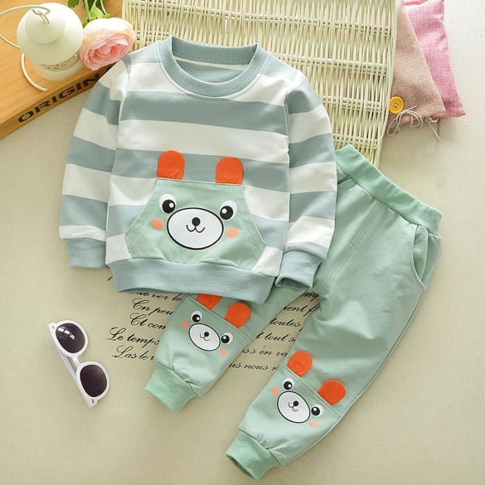 Bear Pattern T-Shirt + Long Pants Outfits - Boys