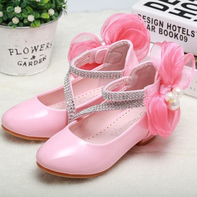 Big Pearl Bow Flower Girl Pu Leather Shoes