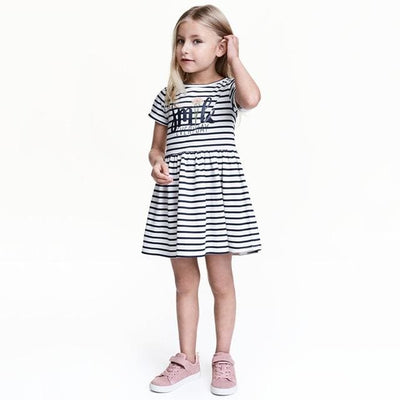 Black And White Striped Princess Dress - White / 2Y - Girls