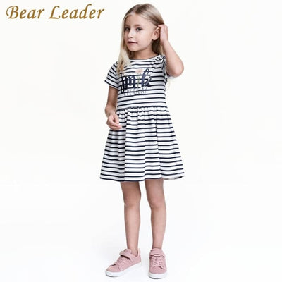 Black And White Striped Princess Dress - Girls
