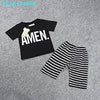 Black Letter Short T-Shirt+Striped Pants - Black / 3Y - Boys