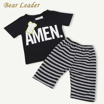 Black Letter Short T-Shirt+Striped Pants - Boys