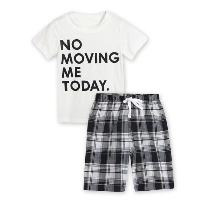 Black White Letter T-Shirt + Plaid Pants Sets - Boys