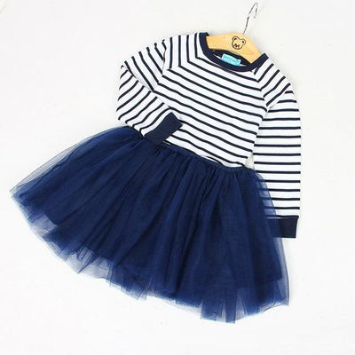 Blanck&white Striped Mesh Design Princess Dress - Navy Blue / 3Y - Girls