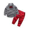 Bow Strips Long Sleeve Shirt + Pants Children Clothing Suits - Boys