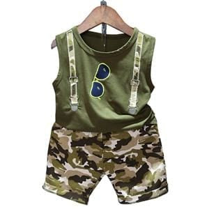Boy 2Pcs Sleeveless T-Shirt Toddler Suits Camo Shorts Child Clothing - Boys