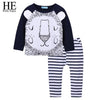 Boy Animal Long Sleeve Tops+Stripe Pant Spring Set - Boys