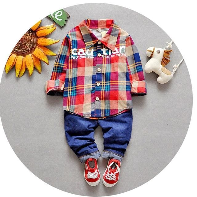 Boy Clothing Set Fashion Formal Suits Plaid - Boys