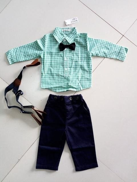 Boy Clothing Sets Long Sleeve Plaids Shirt+Jumpers Pants+Bow Tie Set - Boys