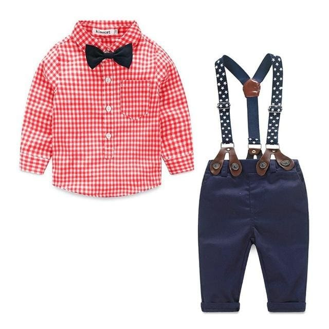4ff74dc7de41 Boy Clothing Sets Long Sleeve Plaids Shirt+Jumpers Pants+bow tie Set