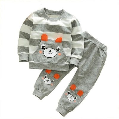 Boy Shirt Stripes Outfit - Gray / 3Y - Boys