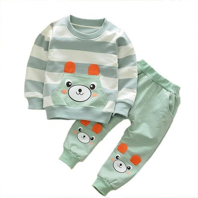 Boy Shirt Stripes Outfit - Green / 3Y - Boys