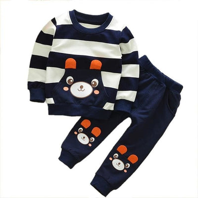 Boy Shirt Stripes Outfit - Navy / 3Y - Boys