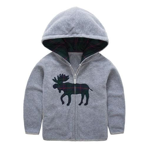 Boys Animal Embroidery Hooded Jacket Sweatshirts - Boys