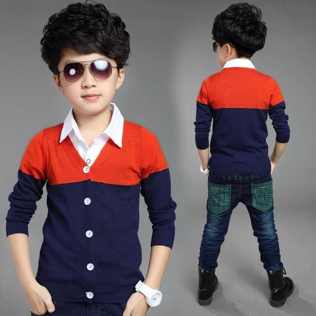 Boys Autumn Cardigan Cotton Brand Kids Shirt 3 Colors - Boys