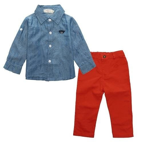 Boys Autumn Gentleman Long-Sleeved Shirt And Pants Suit - Boys