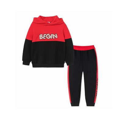 Boys Autumn Sports Hoodies+Pants Outfit - Red / 1Y 6M - Boys