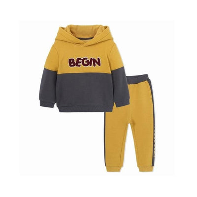 Boys Autumn Sports Hoodies+Pants Outfit - Yellow / 1Y 6M - Boys