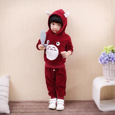 Boys Cartoon Hoodies 2Pcs Outfit Set - Red / 2Y - Boys