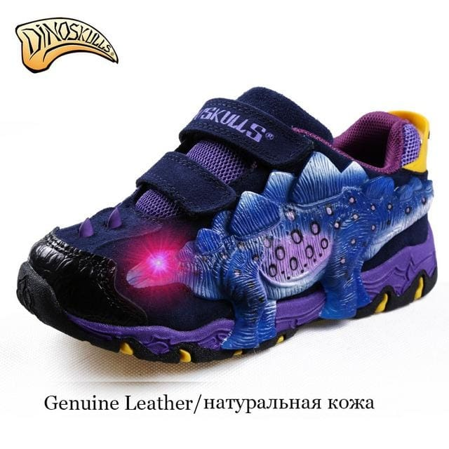 Boys Genuine Leather Led Shoes Boys 3D Dinosaur Flashing - Boys